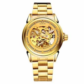 Đồng hồ cơ nam dây thép không gỉ lộ máy SEWOR SE1083HT (Vàng)