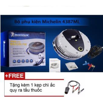 Máy bơm lốp oto, xe hơi điện tử MICHELIN 4387ML + Tặng 1 kẹp chì ắc quy ra tẩu thuốc 12v