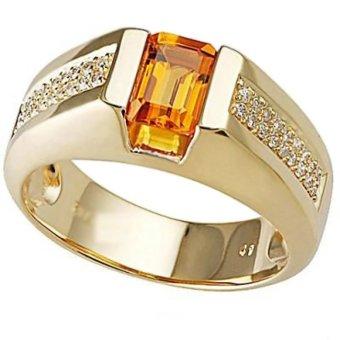 Nhẫn nam đá thạch anh mạ vàng 14k - NNAM60