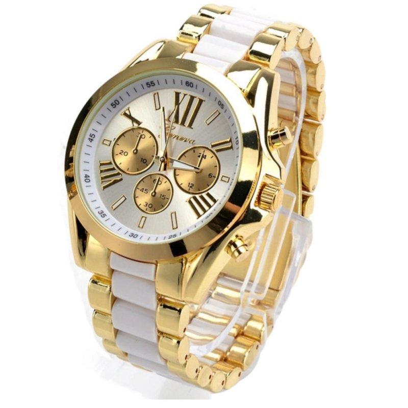 Nơi bán JOOX Menswear Quartz Full Steel Watch Women Watches Casual Dress Ladies Wrist Watch Gold Dial Alloy Watch (White) - intl
