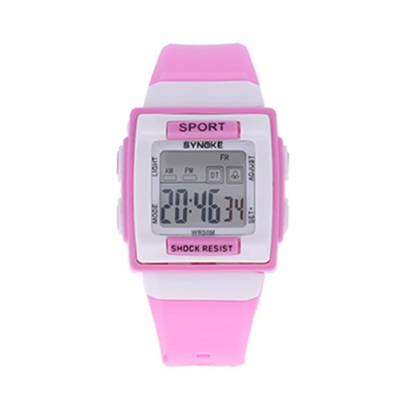 Kids Electronic Students Watch Digital Luminous Square Case Clock Watch(Pink) - intl bán chạy