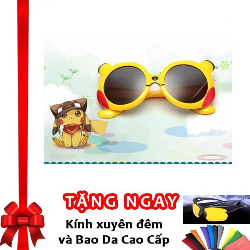 Mua Kính mát thời trang Hàn Quốc chống tia UV bảo vệ mắt bé F175 (Vàng) + Tặng kính xuyên đêm và bao da cao cấp