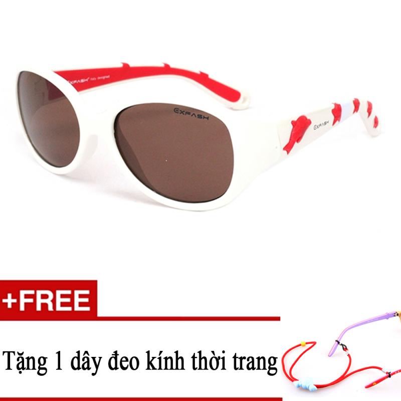Mua Kính mát trẻ em EXFASH EF4741 106 (Trắng họa tiết đỏ) + Tặng kèm 1 dây đeo kính trẻ em