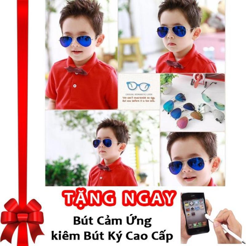Mua Kính thời trang phản quang cực chống tia UV siêu đáng yêu cho bé Korea Kids 2017 F171 (Xanh) + Tặng bút cảm ứng kiêm bút ký
