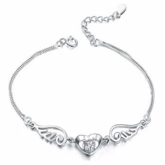 Lắc tay bạc trái tim đá trắng