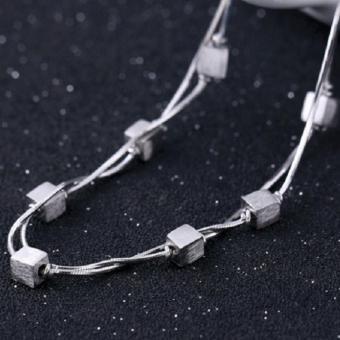 Lắc tay nữ hạt vuông hai vòng xinh xắn dễ thương HHN-SL25(Bạc) - 5
