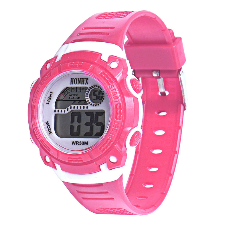 LED Digital Electronic Multifunction Waterproof Children Watch (Hot Pink) - intl bán chạy
