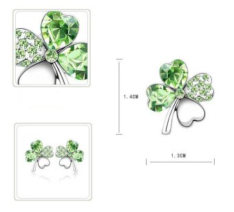Lucky Crystal Four-Leaf Earrings 8 colors-Green - intl