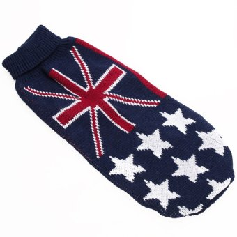 LZ Turtleneck Dog Sweater Clothes W/ Uk Flag Pattern Size S - intl