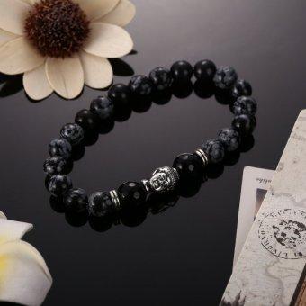 Man Bracelet Natural White Spot Stone Bead Silver (Intl)