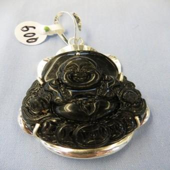 Mặt dây chuyền - phật Di lặc đá Oolics đen bọc bạc 5,2 x 4,2 cm