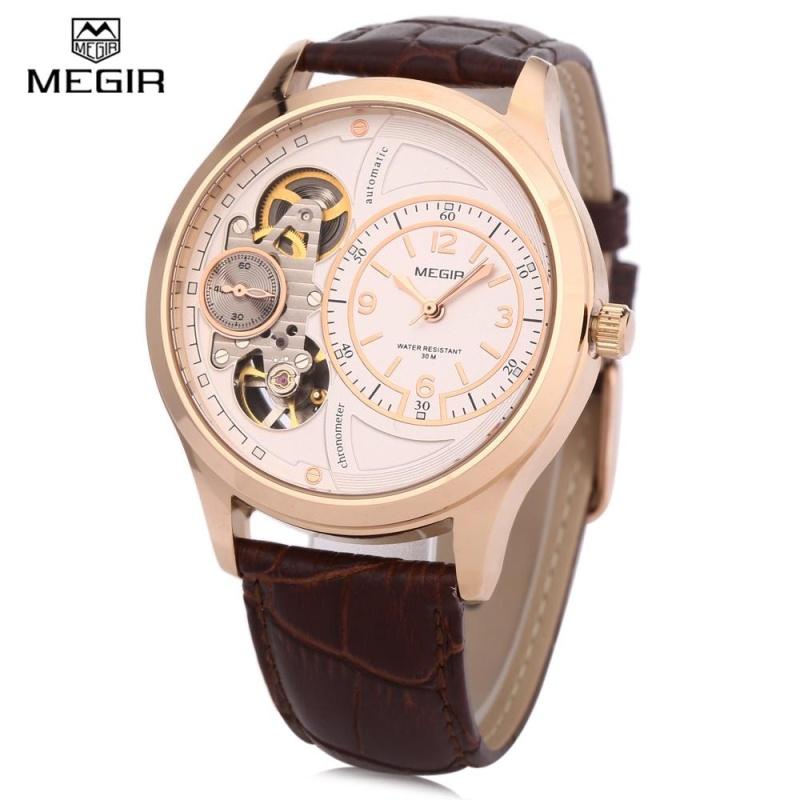 Nơi bán MEGIR 2017G Men Quartz Watch 30M Water Resistance Leather Band Wristwatch - intl