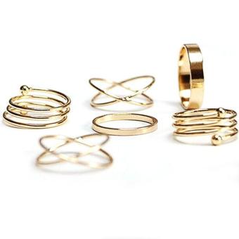 Men Spiral Metallic Ring Six Pieces Golden(Intl)