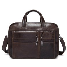 Giá Sốc Men's Leather Expandable Laptop Briefcase – intl  newcoast