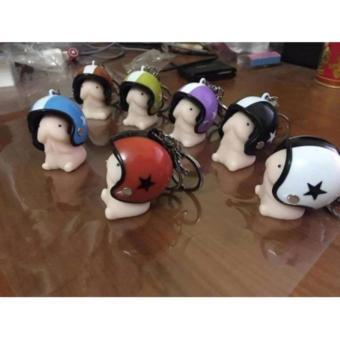 Móc khóa hình bé ciu đội nón bảo hiểm (màu nón ngẫu nhiên) - 2