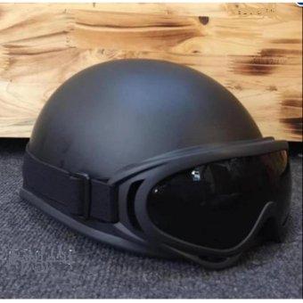 Mũ bảo hiểm 1/2 đầu kèm kính UV màu bất kì (Đen)