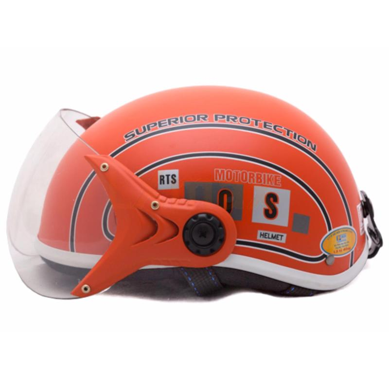 Mũ bảo hiểm SPO trẻ em có kính cao cấp (Cam)
