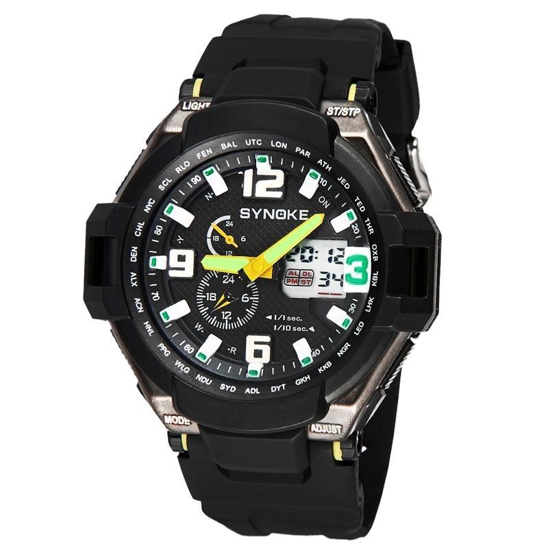 Nơi bán Multi Function Waterproof Double Digital Quartz LED Sports Watch Green - intl