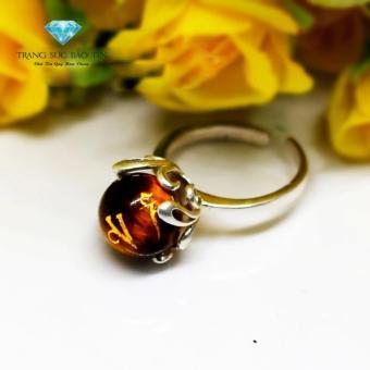 Nhẫn Bạc Nữ Đá Mắt Hổ Vàng Khắc Kinh Phật Phong Thủy BẢO TÍN (Vàng)