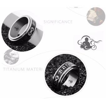 Nhẫn thép Titan không gỉ hoa tiết la mã quay xoanh trục phong cách Châu âu RB20