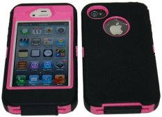 Giảm Giá niceEshop Black/Pink Body Armor Defender Three Layer Silicone PC Case Cover for iPhone 4 4S – Intl   niceE shop