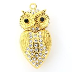 Địa Chỉ Bán niceEshop Gold 8GB Owl Shape Crystal USB Flash Drive Memory Stick With A Chain – Intl   niceE shop