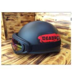 Nón PGK 1/2 Đầu DEADPOOL ( Đen Phối Đỏ ) + Tặng Kính Phượt