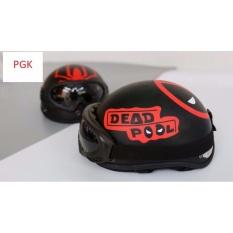 Nón PGK 1/2 Đầu DEADPOOL ( Đen Phối Đỏ ) Tặng kính Phượt