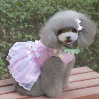 Pet Clothes Dog Puppy Clothes Little Princess Pink(Size XS) - intl