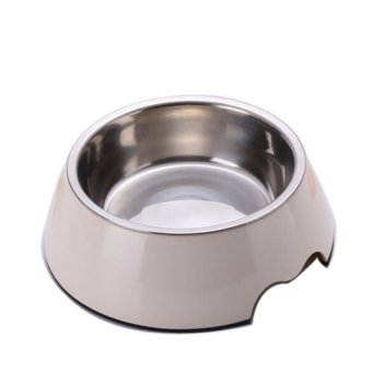 Pet Raised Bowls Feeding Station Water Bottles StainlessSteelDogBowl(White) - intl