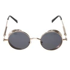 Giá Niêm Yết Punk Vintage Metal Round Punk Sunglasses (Gold Frame Black Grey Lens) – intl  crystalawaking
