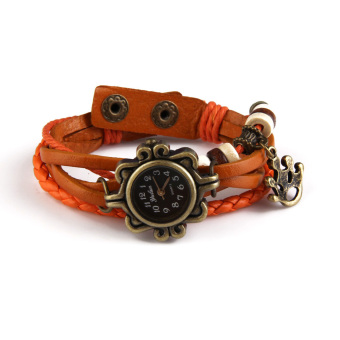 Quartz Fashion Weave Wrap Around Leather Bracelet Wrist Watch Orange(Intl)