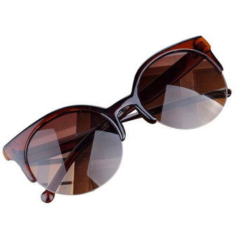Retro Cat Eye Semi-Rim Round Sunglasses Brown