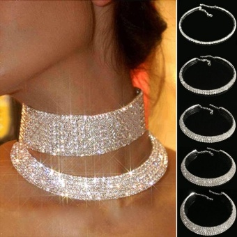Rhinestone Necklace Row Girls Jewellry Choker Wedding Bridal Decoration - intl