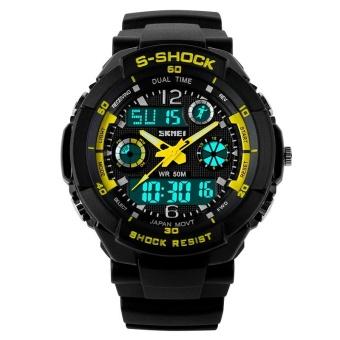 SKMEI Women Sport LED Waterproof Rubber Strap Wrist Watch - Yellow 0931