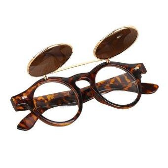 Steampunk Goth Goggles Glasses Retro Flip Up Round SunglassesYellow