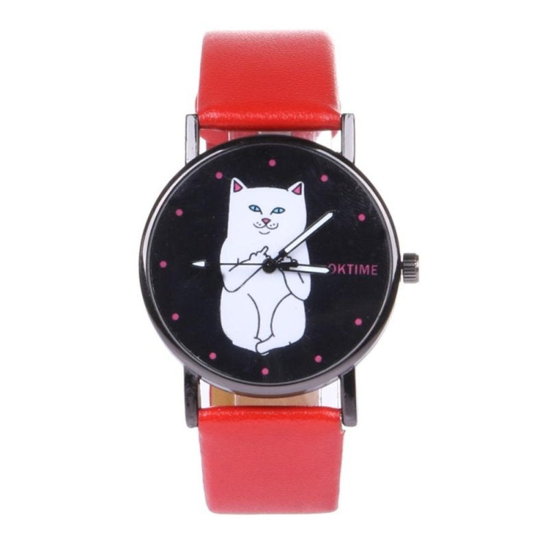 Student Lovely Cat Round Black Crystal Dial Quartz Watch (Red) - intl bán chạy