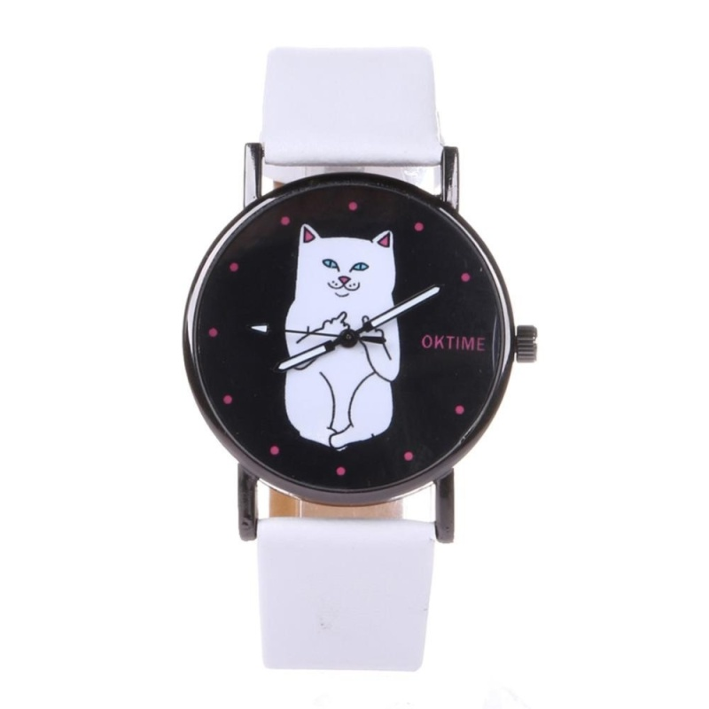 Student Lovely Cat Round Black Crystal Dial Quartz Watch (White) - intl bán chạy