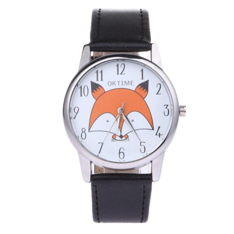 Students Cartoon Fox Design Leather Quartz Clock Wristwatch (Black) - intl bán chạy