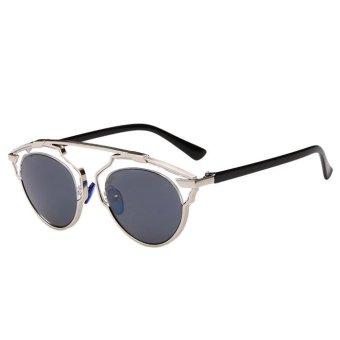 Sunglasses Cat Eye Vintage Mirror Lens Siliver+Black