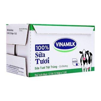 Thùng Sữa tươi Vinamilk 12 hộp tiệt trùng 100% có đường 1 Lít x 12