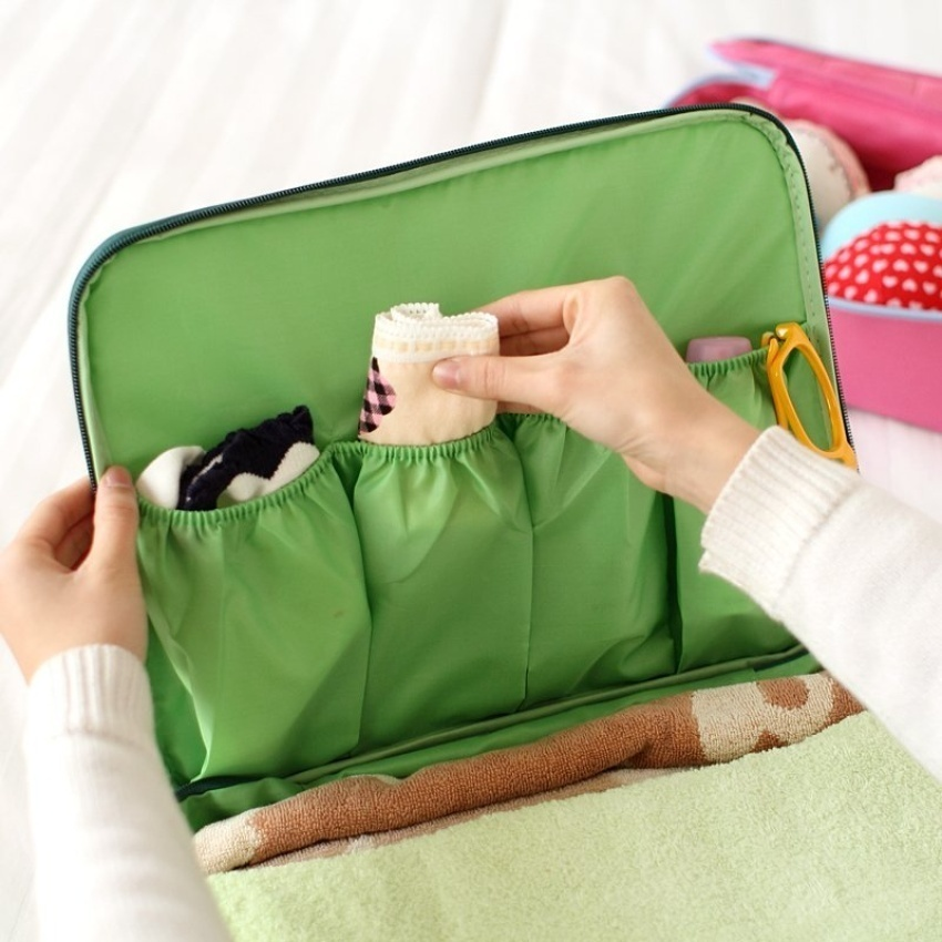 Hình ảnh Travel portable multifunction wash storage bag L Green - intl