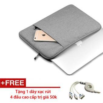 Túi chống sốc cho Macbook cao cấp 11 inch (Ghi xám) - Tặng 1 dâyxạc rút 4 đầu