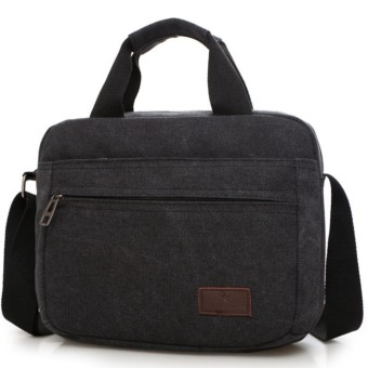 Túi đeo chéo canvas phối da 052 TU (Đen)