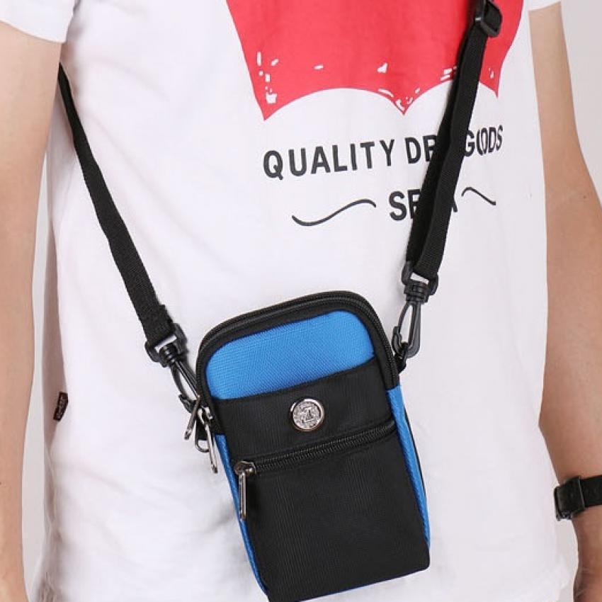 Túi đeo hông thắt lưng có móc khóa + Tặng dây Đeo chéo đa năng H142 (Xanh biển)