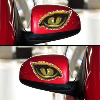 UINN Stylish Car Stickers Unique 3D Eerie Eagle Eye Design Reflective D-626 yellow & black 9*11cm - intl