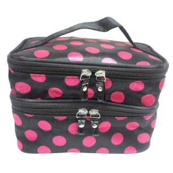UJS Double Layer Storage Bag Travel Toiletry Cosmetic MakeupBag(Pink) - intl