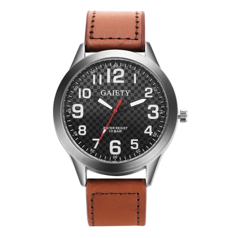 Unisex Luxury Leather Quartz Business Clock Dress Watch (Light Brown) - intl bán chạy