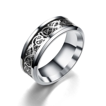 Unisex Titanium Steel with Silver Stainless Steel Ring (Black)(Size 9) - intl