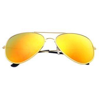 Vintage Retro Aviator Mirror Lens Sunglasses Yellow